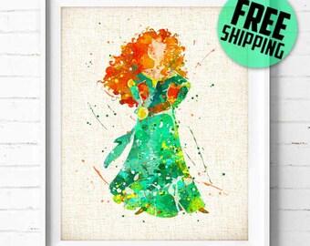 Disney print, Disney Princess Merida Brave Poster, Disney art print Watercolor Painting, Wall Art Print, Nursery Home Decor, Baby Shower 340