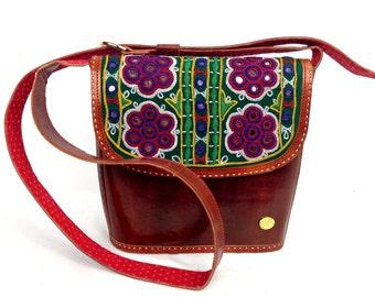 women's Bohemian cross body bag , women's  Boho real leather embroidered shoulder bag , Brown leather bag , unique designer messenger bag