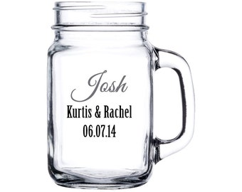Personalized Wedding Party Mason Jar - Perfect for bridesmaids, groomsmen, Maids of Honor, Matron of Honor, Best Man, Parents - Set of 5