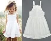 Girls white beach dress, girls white dress, girls white summer dress, toddler girls white dress