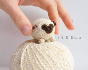 Puppy Pug -Cute Pug-Amigurumi puppy- Kawaii Crochet Pug- Tiny animal - Crocheted Pug - Amigurumi Crochet Brown Pug Dog Doll