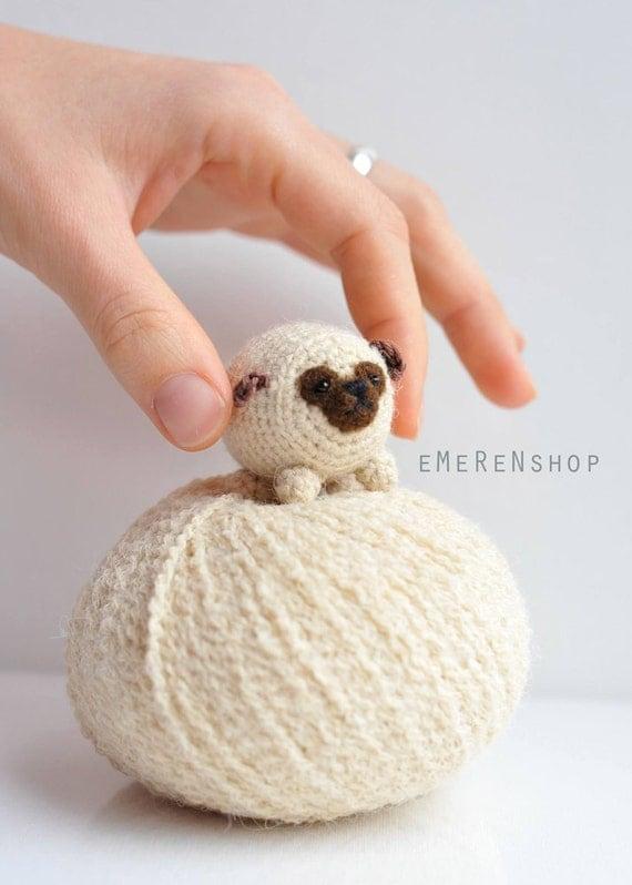 Perro Amigurumi Kawaii : Puppy Pug Cute Pug-Amigurumi puppy Kawaii Crochet Pug Tiny