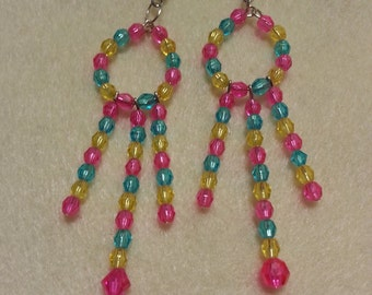 Pink, blue, yellow chandeliers