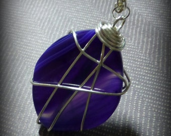 wire wrapped pendant purple agate necklace large stone necklace  ooak jewelry