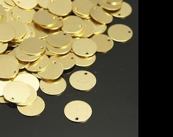 10mm Brass Stamping Blanks Charms Circle Blanks Gold Brass 20 pieces