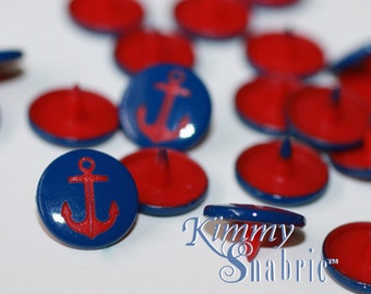 B58 Dark Navy Anchor Snaps, Nautical Snap, Engraved KAM Snaps, KAM Snap Fastener, Plastic Snaps for Cloth Diapers, Plastic Snap Closure