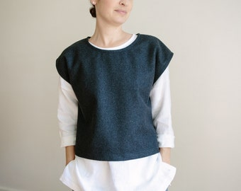 Charcoal Wool Vest. Warm grey vest. Loose fit layer.