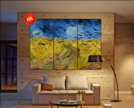 Wheatfield with Crows van Gogh  print canvas wall art Large Wheatfield with Crows van Gogh art artwork large art office decoration