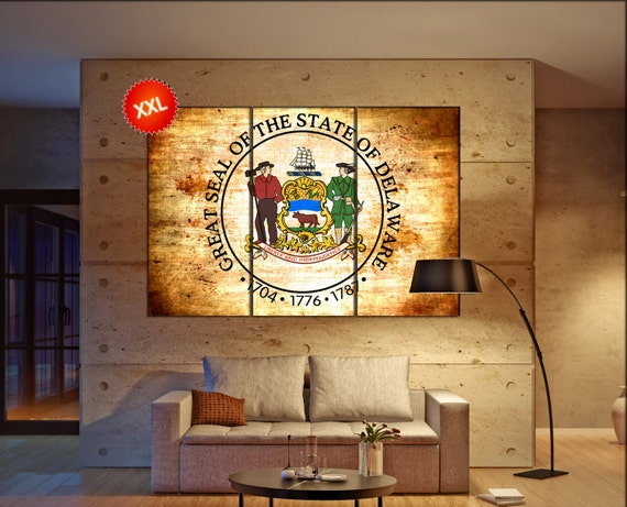 Delaware seal flag  canvas wall art Delaware wall decoration Delaware canvas wall art art Delaware large canvas wall art