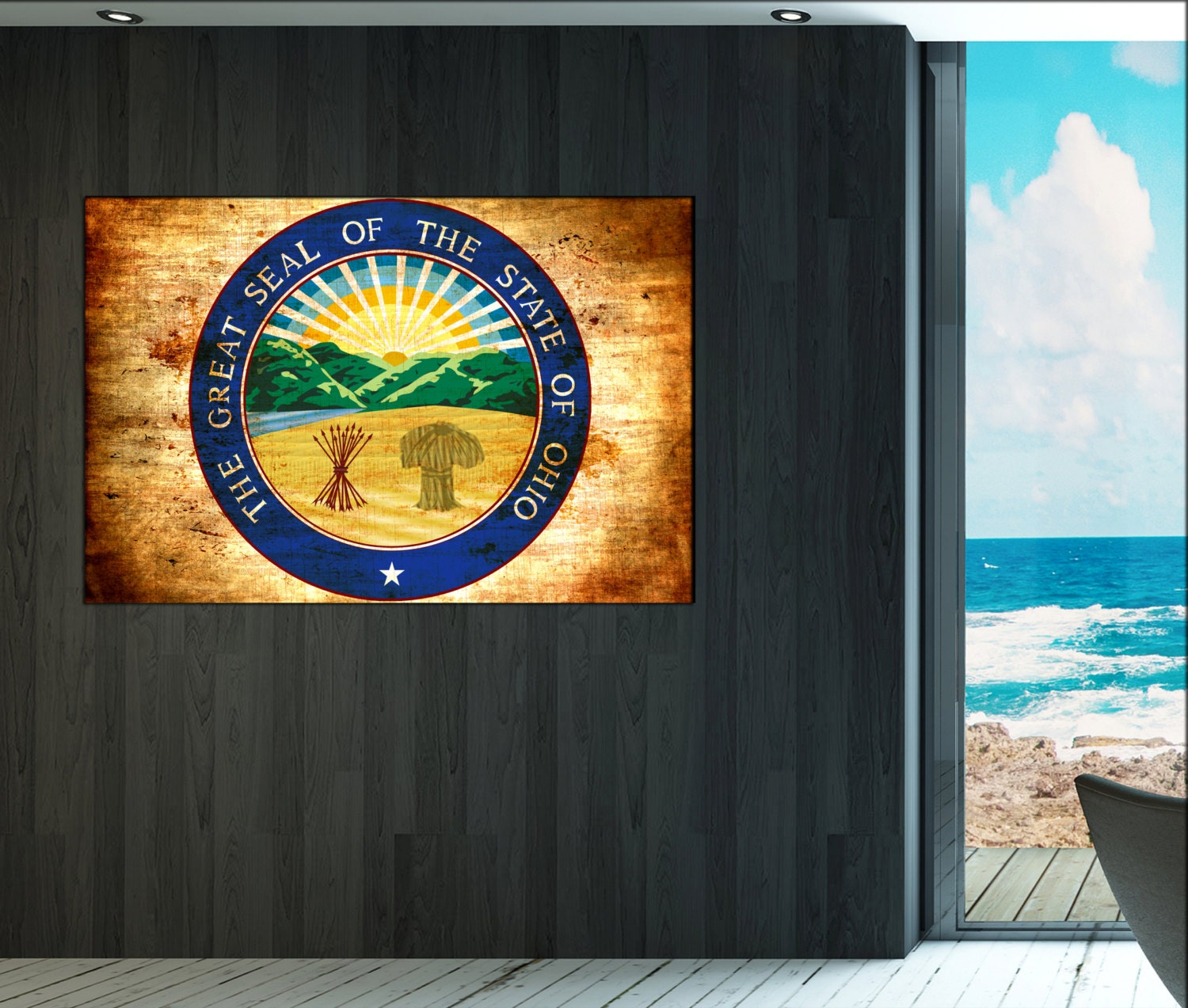 Ohio seal flag canvas wall art ohio seal flag wall for State of the art meaning