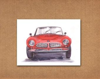 ORIGINAL watercolor painting: red BMW 507 oldtimer car
