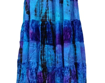 Blue/turquoise with purple patches tie dye velvety tiered maxi skirt pagan hippy boho M/L