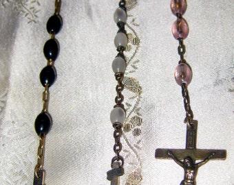 Lots of Three Vintage Rosaries, Plastic Beads