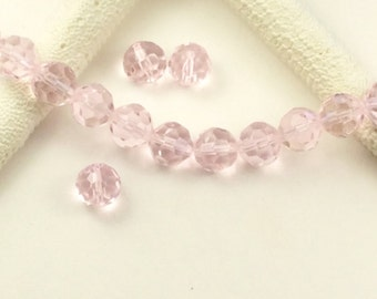 10mm Pink faceted Austrian crystal beads, 34 round  faceted glass beads,Light Pink  beads, 13 inch strand,(CL20)