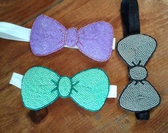 Beaded bow baby/toddler headband