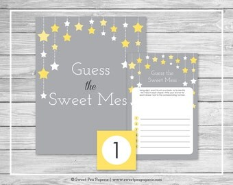 Twinkle Little Star Shower Guess The Mess Game - Printable Baby Shower Guess The Sweet Mess Game - Twinkle Little Star Baby Shower - SP117