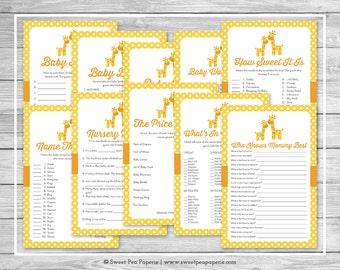 Giraffe Baby Shower Games - 10 Printable Baby Shower Games - Yellow Giraffe Baby Shower - Baby Shower Games Package - Giraffe Shower - SP131