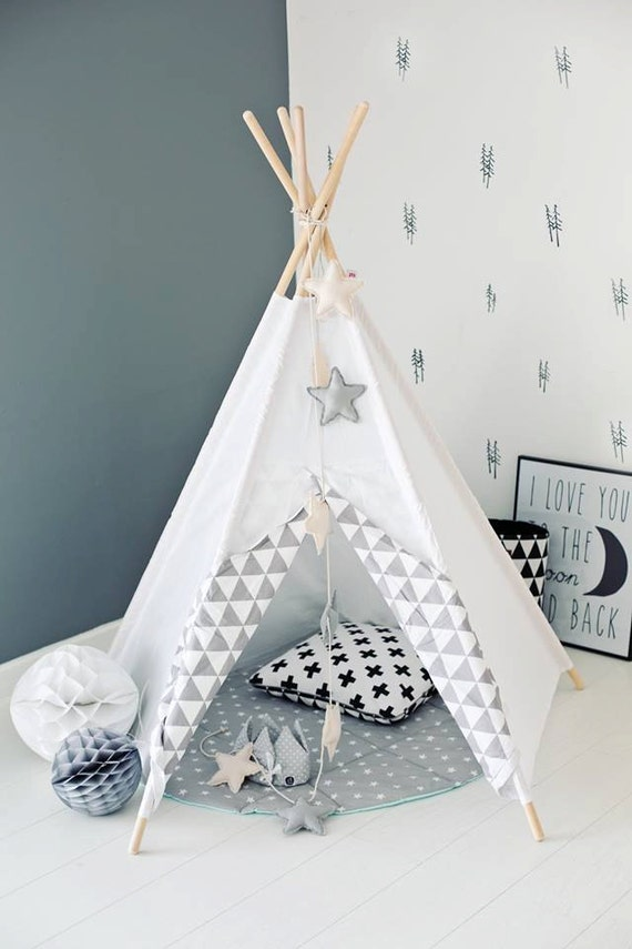 items similar to sale tipi teepe wigwam zelt tent playtent white kids teepee tents tipi. Black Bedroom Furniture Sets. Home Design Ideas