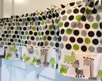 Black, Gray, and Lime Green polka dots on White with Baby Giraffes border