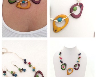 Tagua Necklace, Tagua and Acai Seeds Necklace, Bib Necklace, Eco-Friendly Necklace, Tagua, Tagua nut Jewelry