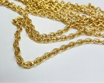 1 Cut Length of 14kt Gold Plated Aluminum Cable Chain, Textured Soft Oval Links, 5x3mm Oval Links