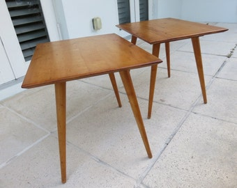 Pair Of Paul McCobb Mid-Century Modern Solid Wood Tables For The Planner Group.