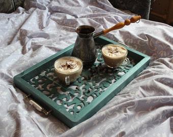 wooden breakfast tray, bed tray, tray for breakfast