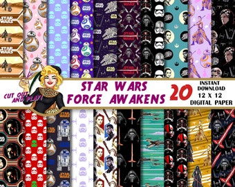 Star Wars Force Awakens digital paper, Rey, BB-8, Kylo Ren, Poe Dameron, Star Wars party, Star Wars birthday, pattern, background, scrapbook