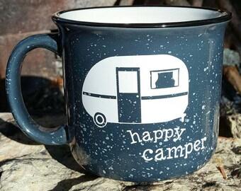 Happy Camper mug - camping coffee mug - campfire mug - camping mug - camping gift - camping - vintage camper- custom camping mug - gift