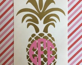 Gold Pineapple Monogram Sticker!