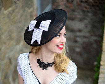 Fascinator black white Polka Dot