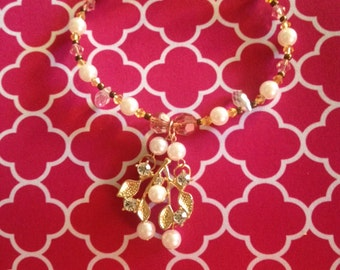 """Pearl Gold Plated crystal leaf pendant on a """"Icy Chuncky Bracelet """""""