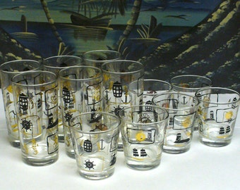 TWELVE Vintage Nautical Themed Glasses Whiskey & Highball