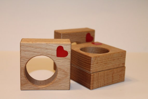 Geometric napkin rings Heart decoration Centerpiece decor Red hearts Wooden holders Valentines day decor Square napkin rings Wooden shapes