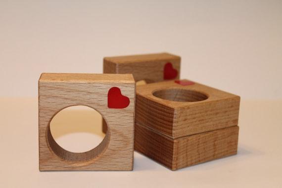 Geometric napkin rings Heart decorations Centerpiece Oak Laser cut red hearts Wood holders Mothers day decoration Wooden Square napkin rings