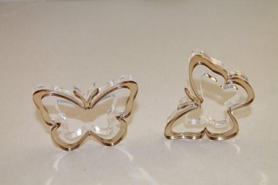 Butterfly napkin ring holders Gold Wedding napkin rings Bridal shower favors Table decor Gold butterfly Wedding party favors Acrylic holders