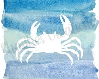 Crab Blue Watercolor Silhouette Wall Decor Printable Wall Art Beach House Print Nautical Nursery Wall Decor Ocean Print