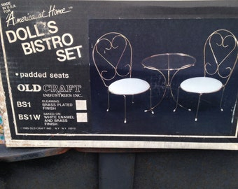 Brass Doll's Bistro Set by Old Craft.  NOS.  Free Shipping