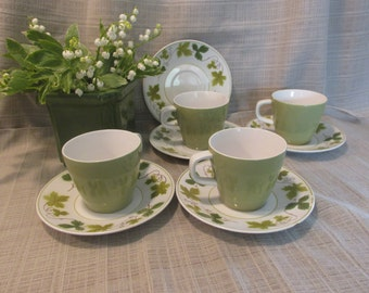 4 Lovely Vintage Tea, Coffee Cups and Saucers , Mikasa (Japan) Cera Stone, Greenwood Pattern, 3137-M, Green Ivy Pattern