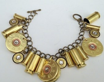 Brass Bullet  Bracelet, 12 Gauge, 40 Caliber, 22 Caliber and 9 mm and Swarovski Crystals, Womens bracelets, Upcycled bullets, Bullet jewelry