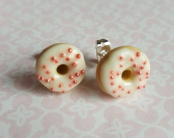 White doughnut food jewllery, iced donut post earrings, polymer clay food ~ silver plated stud earrings funy food jewelry, quirky gift