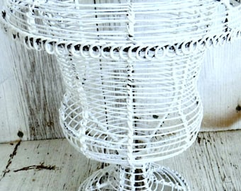 White wire basket, painted basket, footed basket, wire potpourri basket, rustic wire, shabby wire, urn style basket, small waste basket