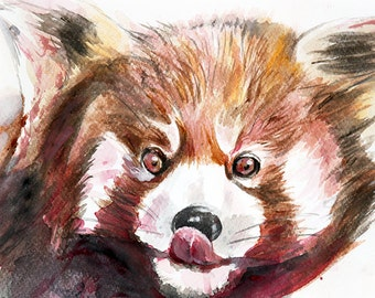 Racoon nursery animal art, original watercolor art, woodlands animal, original watercolor, nursery decor, forest animal, woodlands art