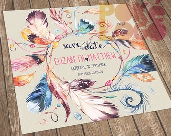 Sacred feathers Save the Date invite, Boho, Bohemian Wedding, Printable Save The Date, DIY, Digital, Watercolor feathers, Watercolour