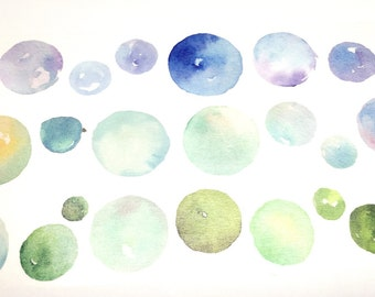 Watercolor illustration washi tape - Cold color circles (T00500)