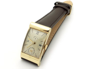 lord elgin vintage mens 14k yellow gold lord elgin manual wind 21 jewel hooded lug watch