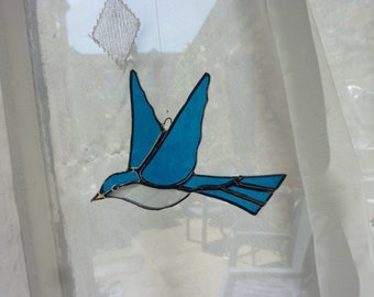Swallow bird stained glass suncatcher