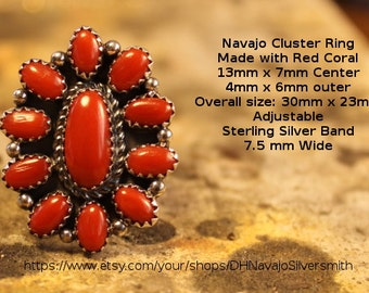 Navajo Cluster Red Coral Ring