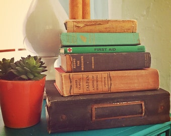 Lot of 6 Old Vintage Books 40's - 60's Great for Decor Office Bookshelf Coffee Table