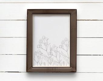 COTTON STEM art print, farmhouse printable, instant download, nursery wall art print